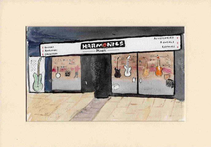 Harmonics' Shop Front, sketch by a customer, 2018
