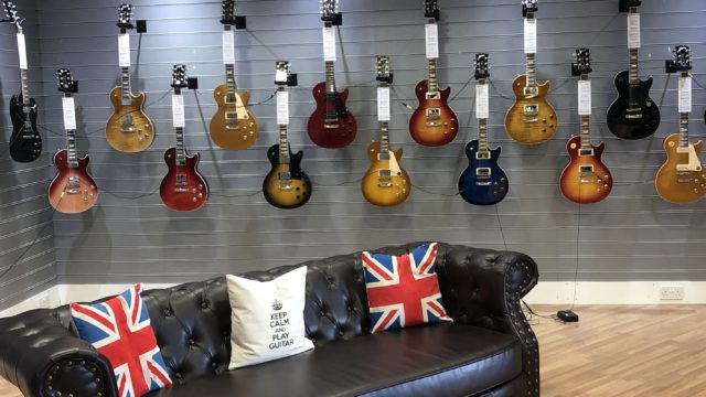 Rimmers Music Shop, Bolton, guitar showroom taken by James Cross, Bolton Store Manager.