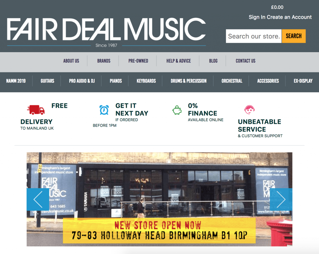 Fairdeal Music's website