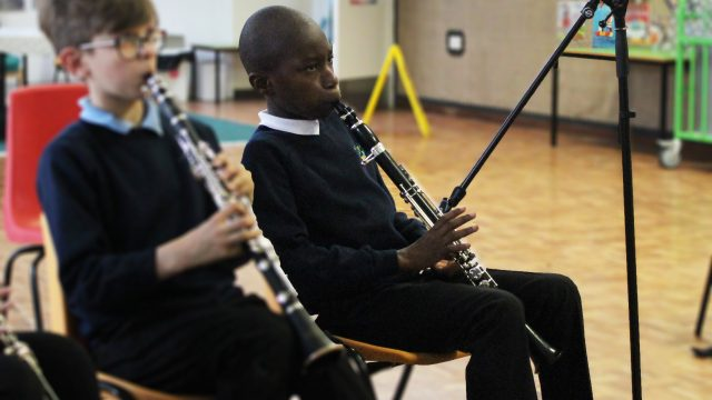 Young one-handed clarinetist
