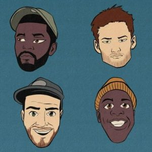 4 cartoon faces of Are We Live podcast hosts