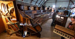 Auditorium seating created out of old pianos