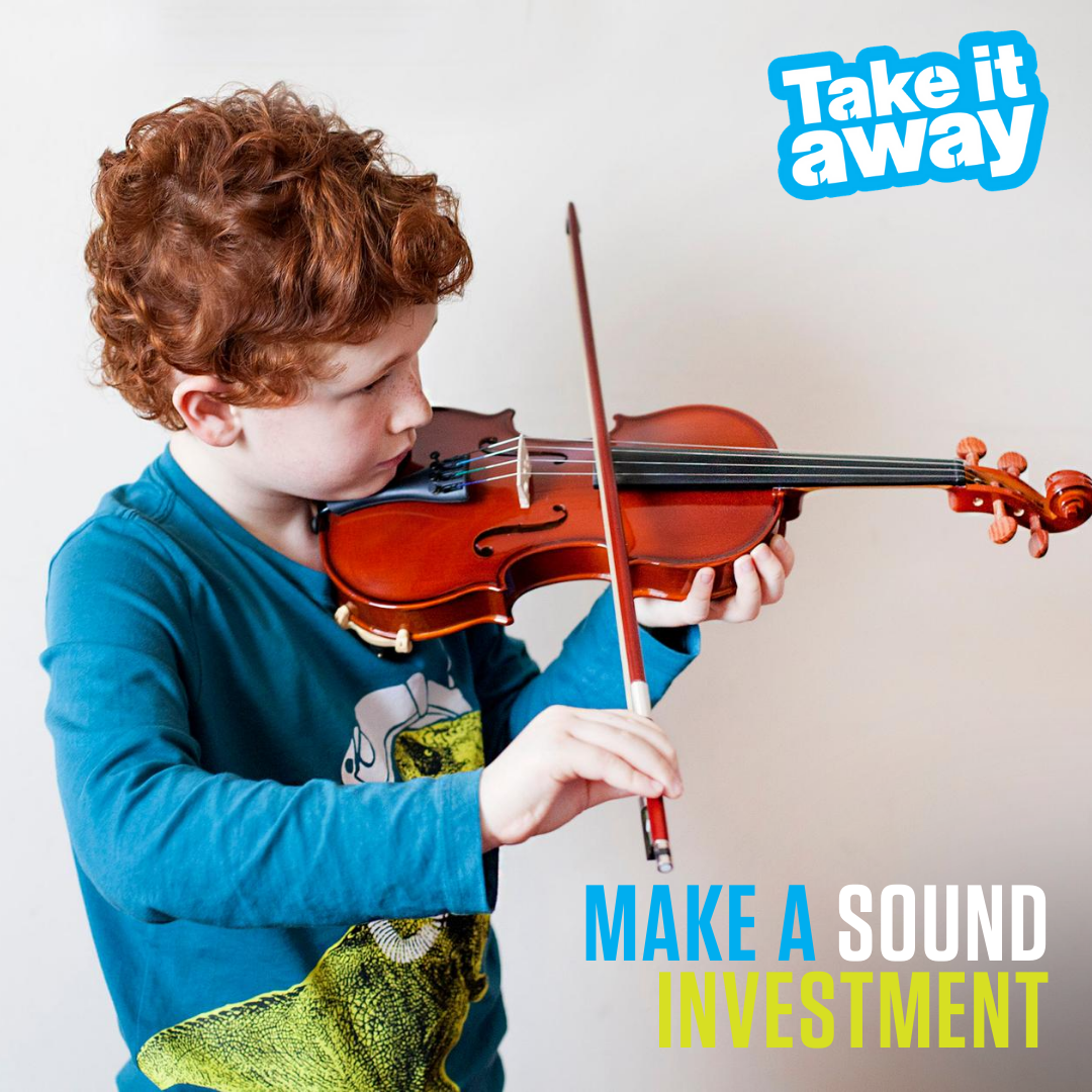 Young boy playing the violin with the words 'Take it away - Make a sound investment'