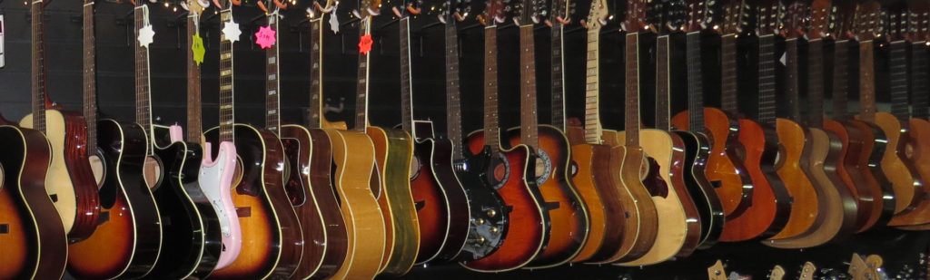 A row of guitars