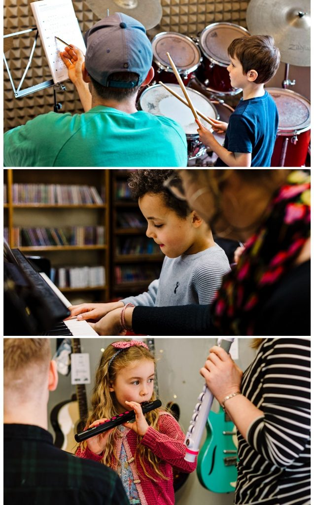 Young musicians playing the drums piano and flute with teachers