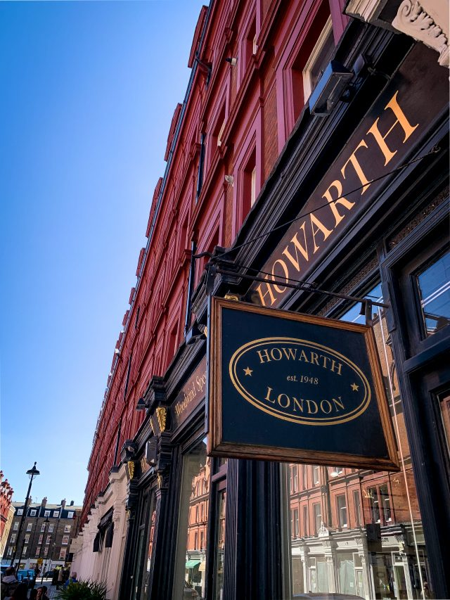 Image of shop front of Howarth of London looking up