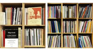 Photo of sheet music on shelves